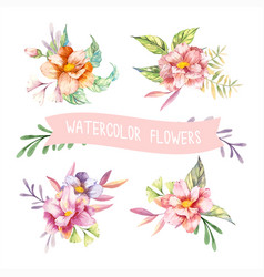 Watercolor spring flowers vector