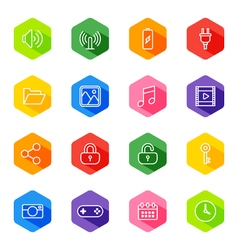 White line web icon set on colorful hexagon vector