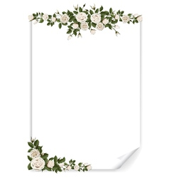 White vertical paper sheet decorated roses vector