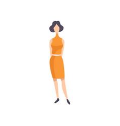 Young brunette woman wearing vintage dress retro vector