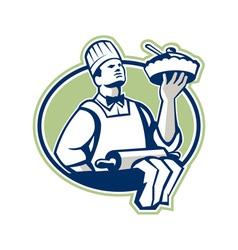 Baker chef cook serving pie retro vector