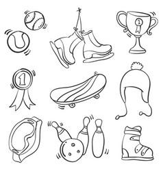 Doodle of sport equipment hand draw vector