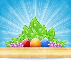Easter background with colorful eggs leaves vector image