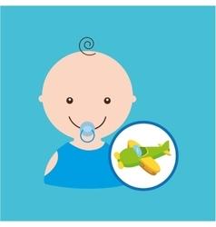 fun plane green toy baby icon vector image