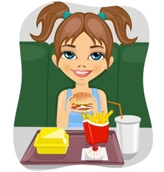 girl eating burger with french fries vector image