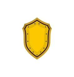 Golden shield icon in flat style vector image