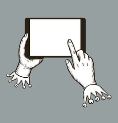 hands holing tablet computer with tap finger on vector image