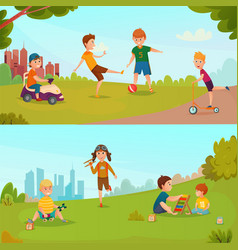 kids banner set vector image