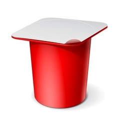 Red Realistic White blank plastic container for vector image