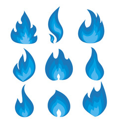set of blue flames a collection of vector image