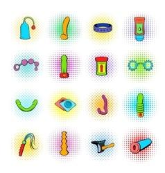 Sex shop icons comics style vector image