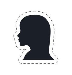 silhouette head female communication vector image