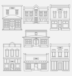 store shop front window buildings black icon set vector image