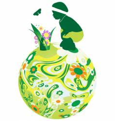 child on the floral sphere vector image vector image