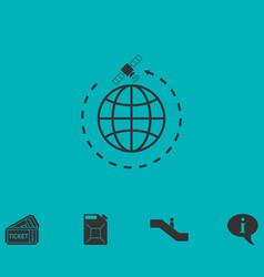 Globe symbol with satellites icon flat vector