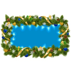 Blue Fir Frame with Garland vector image vector image