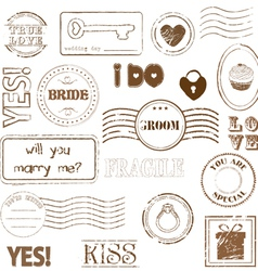 set of wedding postage stamps vector image vector image
