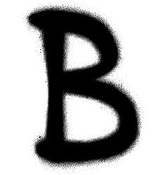 sprayed B font graffiti in black over white vector image vector image