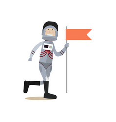astronaut with red flag flat vector image vector image