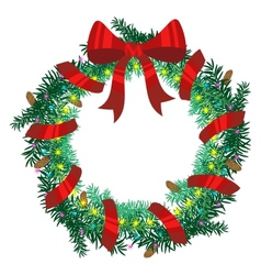Christmas wreath of fir twigs vector image