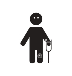 flat icon in black and white style man knee pain vector image vector image