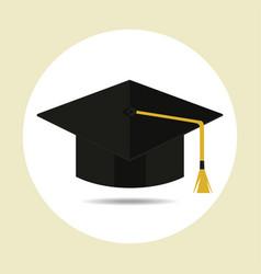 graduation cap in flat style vector image vector image