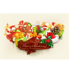 Merry Christmas group of objects vector image vector image