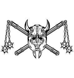 Skull in helmet and crossed maces vector