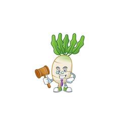 A professional judge daikon presented in cartoon vector