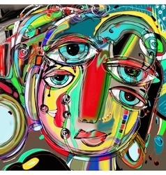 Abstract digital painting of human face colorful vector