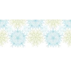 Abstract plants mandalas horizontal border vector