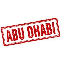 Abu Dhabi red square grunge stamp on white vector