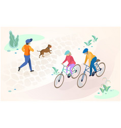 active recreation and rest outdoors concept vector image