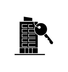apartment house with key icon vector image