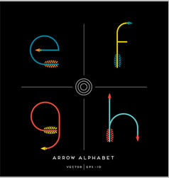 Archery arrow letter set e f g h vector