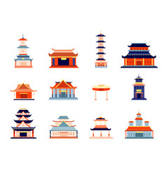 asian style buildings chinese temple building vector image