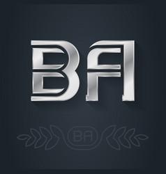 Ba - initials or silver logo b and a - metallic vector