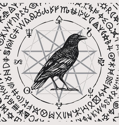 Banner with hand-drawn black raven and magic signs vector