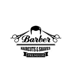 Barber shop symbol or hair salon emblem design vector