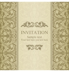 Baroque invitation beige vector image