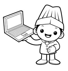 black and white chef mascot is holding a laptop vector image