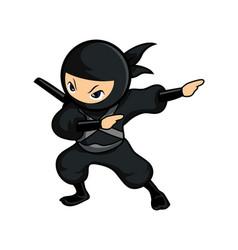 Black cartoon ninja dab left vector