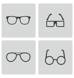 Black glasses icons set vector