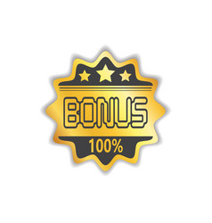 Bonus circular golden medal icon isolated sticker vector