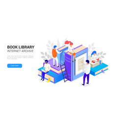 book library isometric internet archive concept vector image