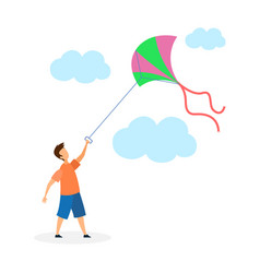 Boy playing with kite flat vector