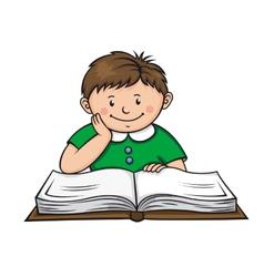 Boy reading a book vector