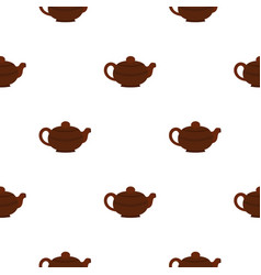 Brown chinese teapot pattern seamless vector