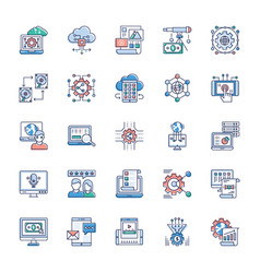 bundle modern technology icons vector image