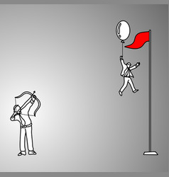 Businessman trying to shoot the balloon to make vector